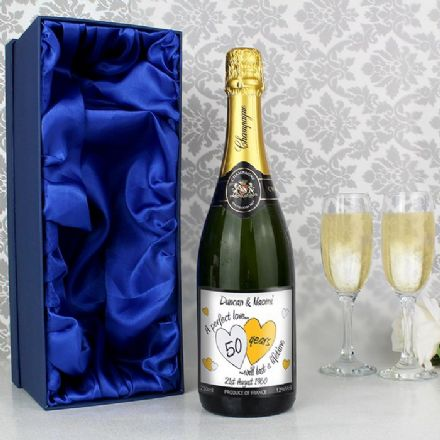 Personalised 50 Years Golden Wedding Anniversary Champagne & Gift Box